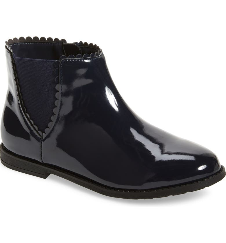 1901 Scallop Detail Chelsea Boot, Main, color, NAVY FAUX PATENT PU