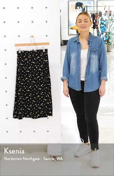 Floral Side Button Midi Skirt, sales video thumbnail