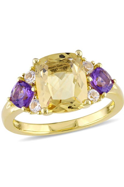 Image of Delmar Yellow Plated Sterling Silver Cushion Shape Citrine Amethyist and White Topaz Ring