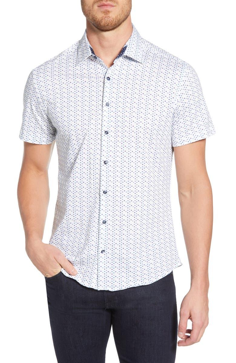 STONE ROSE Geo Leaf Regular Fit Shirt, Main, color, WHITE