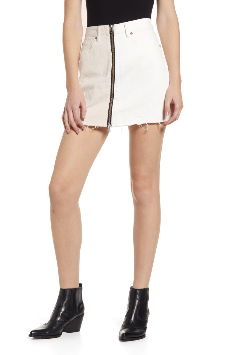 ALLSAINTS Lomo Front & Back Zip Denim Miniskirt, Main, color, 100