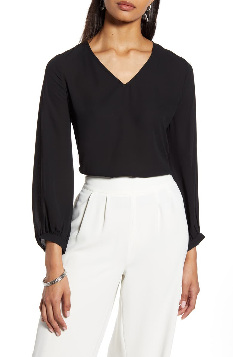 HALOGEN<SUP>®</SUP> V-Neck Blouse, Main, color, BLACK
