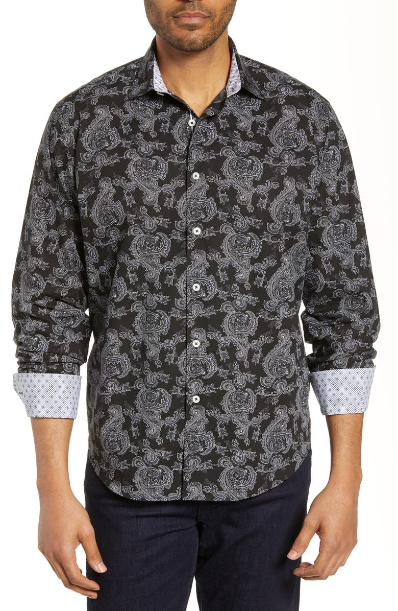 BUGATCHI Classic Fit Paisley Cotton Shirt, Main, color, CAVIAR