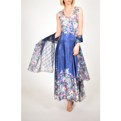 Petite Komarov Floral Print Lace-Up Back Gown With Shawl, Blue