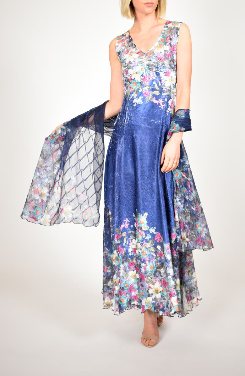 KOMAROV Floral Print Lace-Up Back Gown with Shawl, Main, color, INDIGO MEADOW