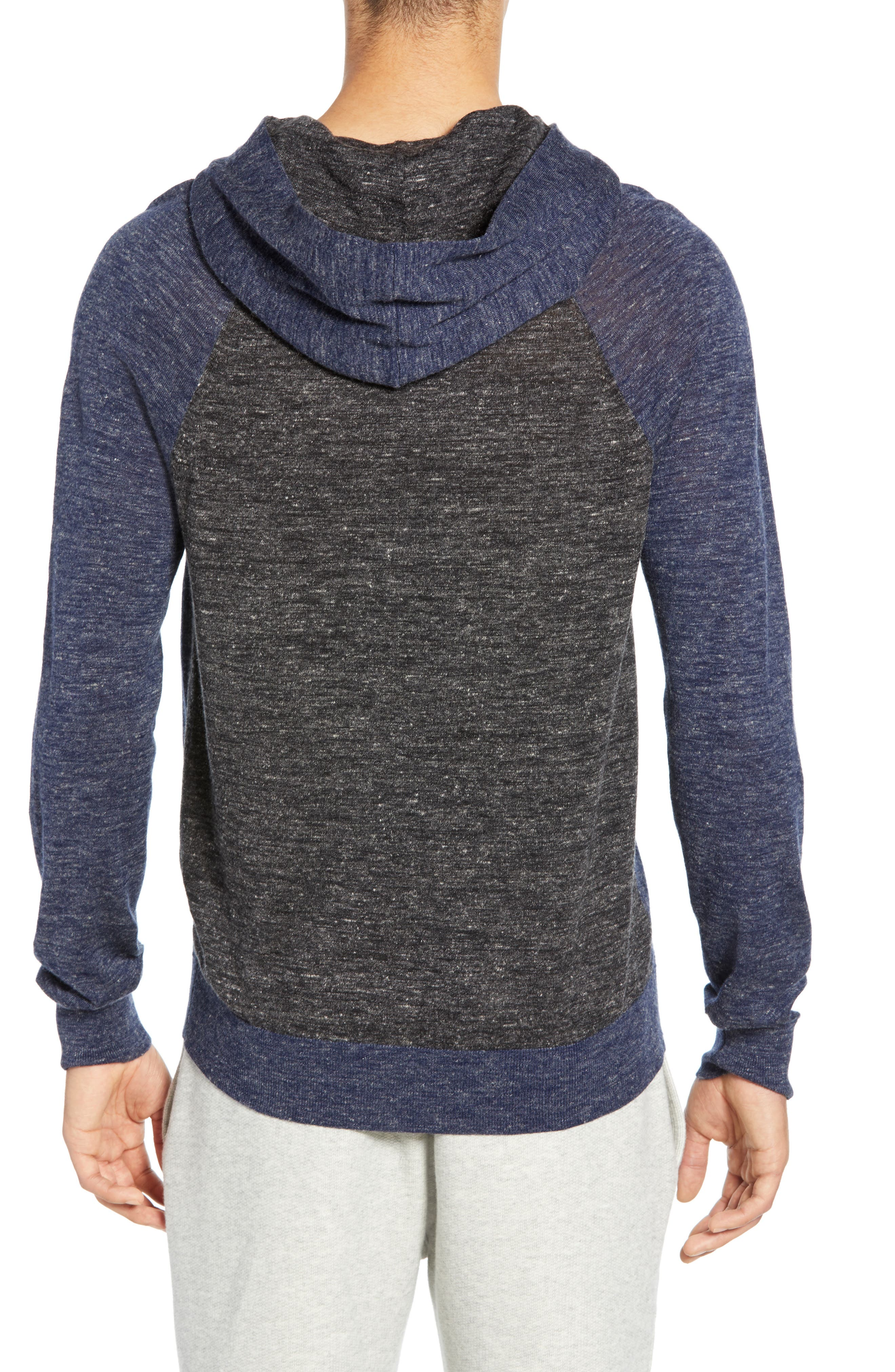 ,                             Colorblock Wool & Linen Pullover Hoodie,                             Alternate thumbnail 2, color,                             COASTAL