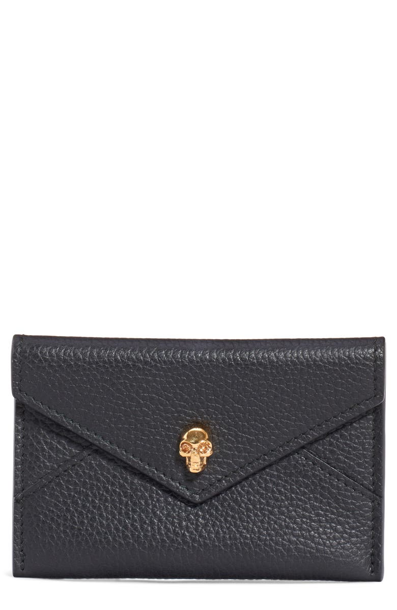 ALEXANDER MCQUEEN Skull Envelope Card Holder, Main, color, 001