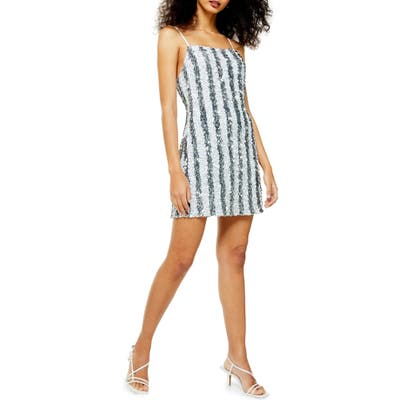 Topshop Stripe Sequin Cocktail Slipdress, US (fits like 10-12) - Metallic