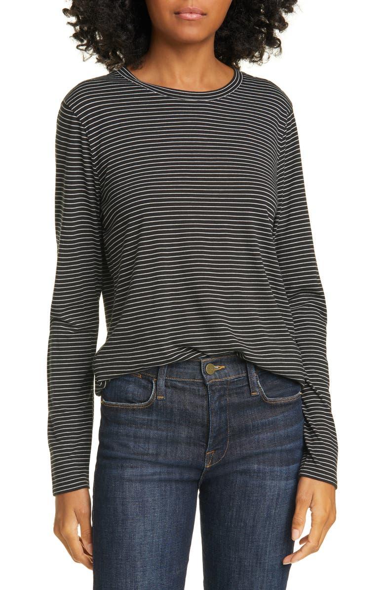 NORDSTROM SIGNATURE Stripe Long Sleeve Tee, Main, color, BLACK- IVORY AVERY STRIPE
