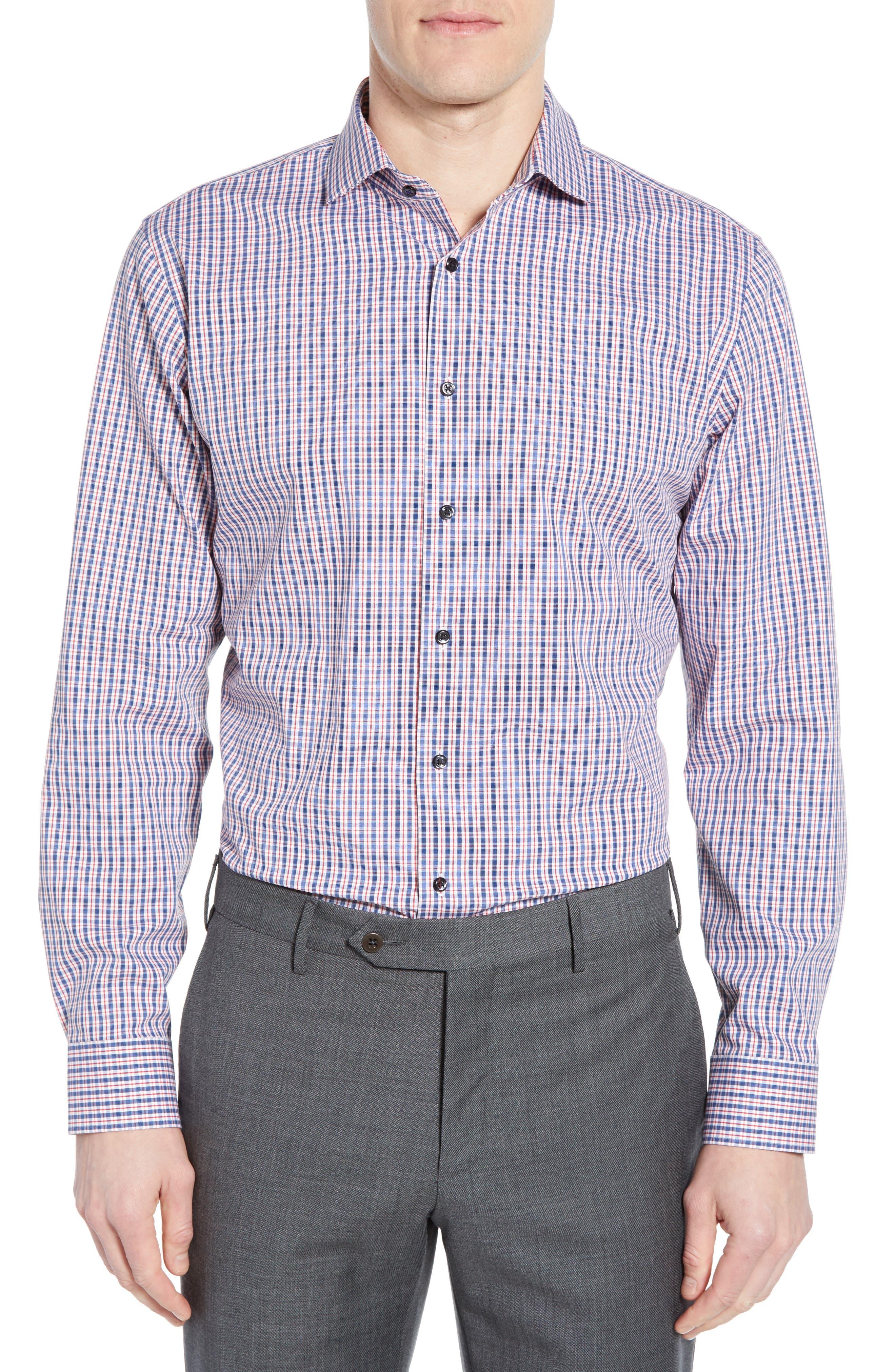 Tech-Smart Trim Fit Stretch Check Dress Shirt, Main, color, RED RIBBON