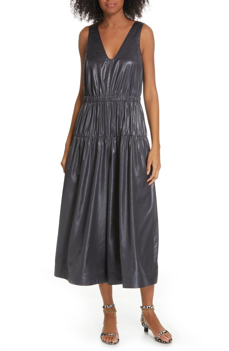 TIBI Liquid Drape Tiered Jumpsuit, Main, color, PEARL BLACK