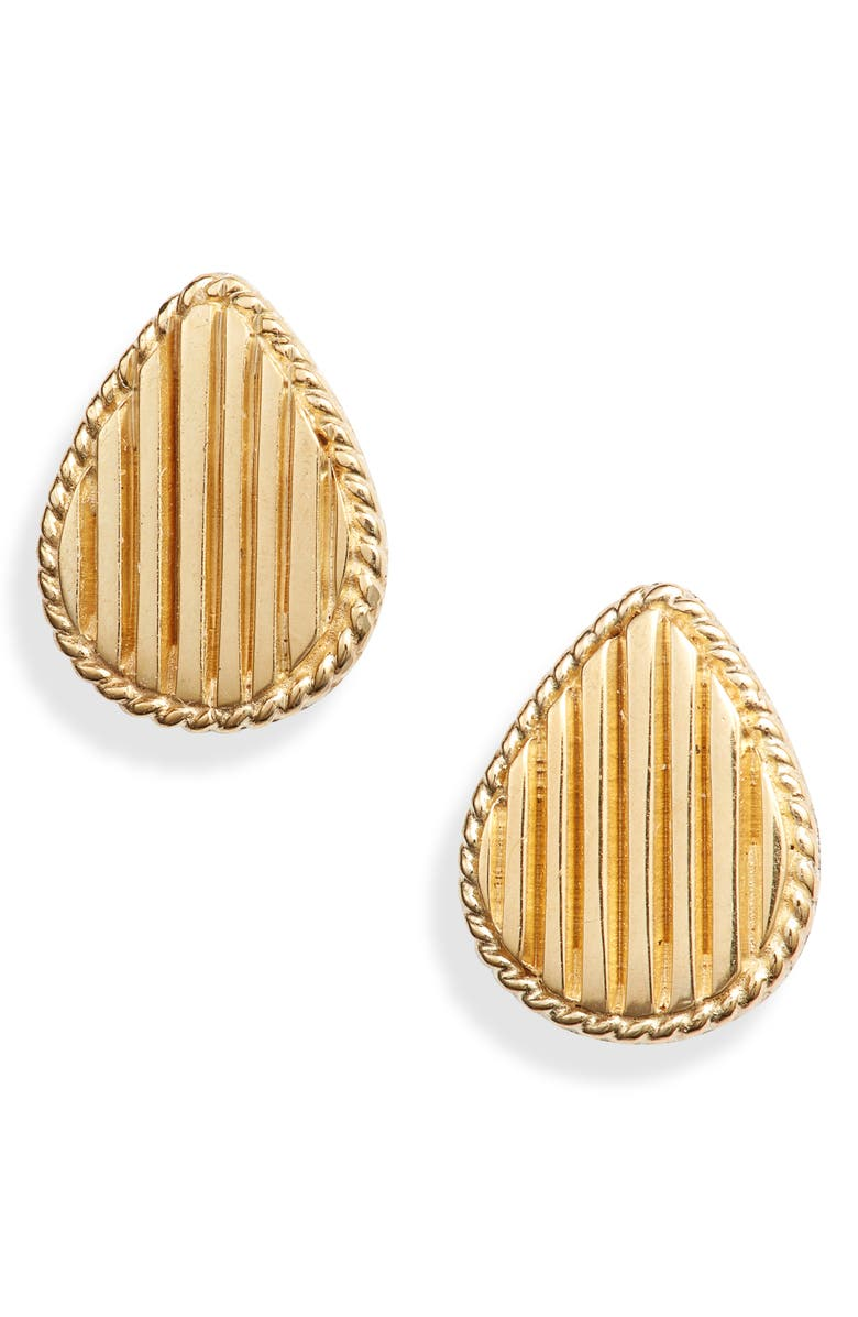 ANNA BECK Ribbed Teardrop Stud Earrings, Main, color, GOLD