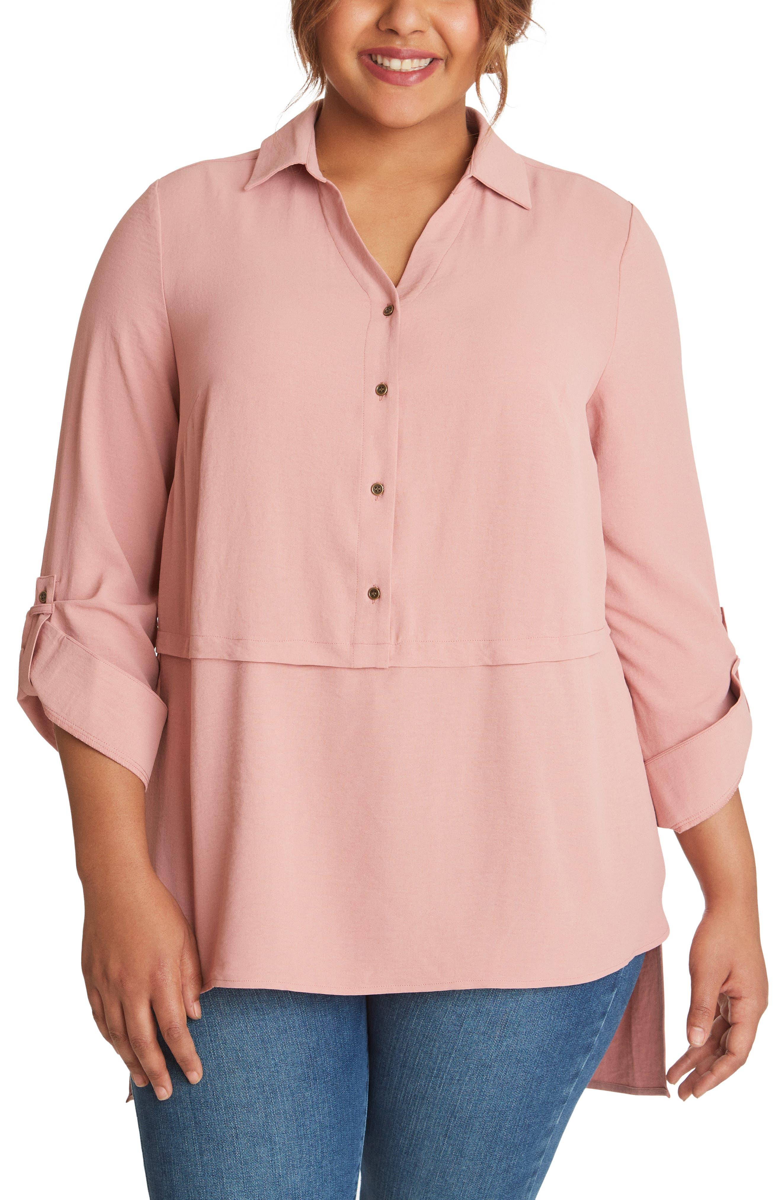 Roll Tab Button-Up Tunic Shirt