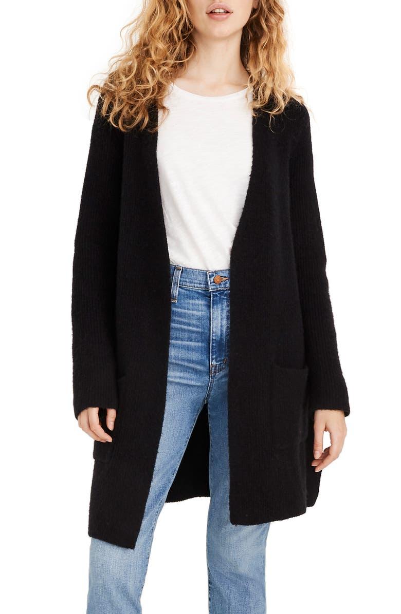 MADEWELL Backstage Cardigan Sweater, Main, color, TRUE BLACK