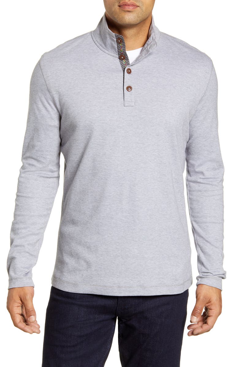 ROBERT GRAHAM Leonard Classic Fit Piqué Pullover, Main, color, CHARCOAL