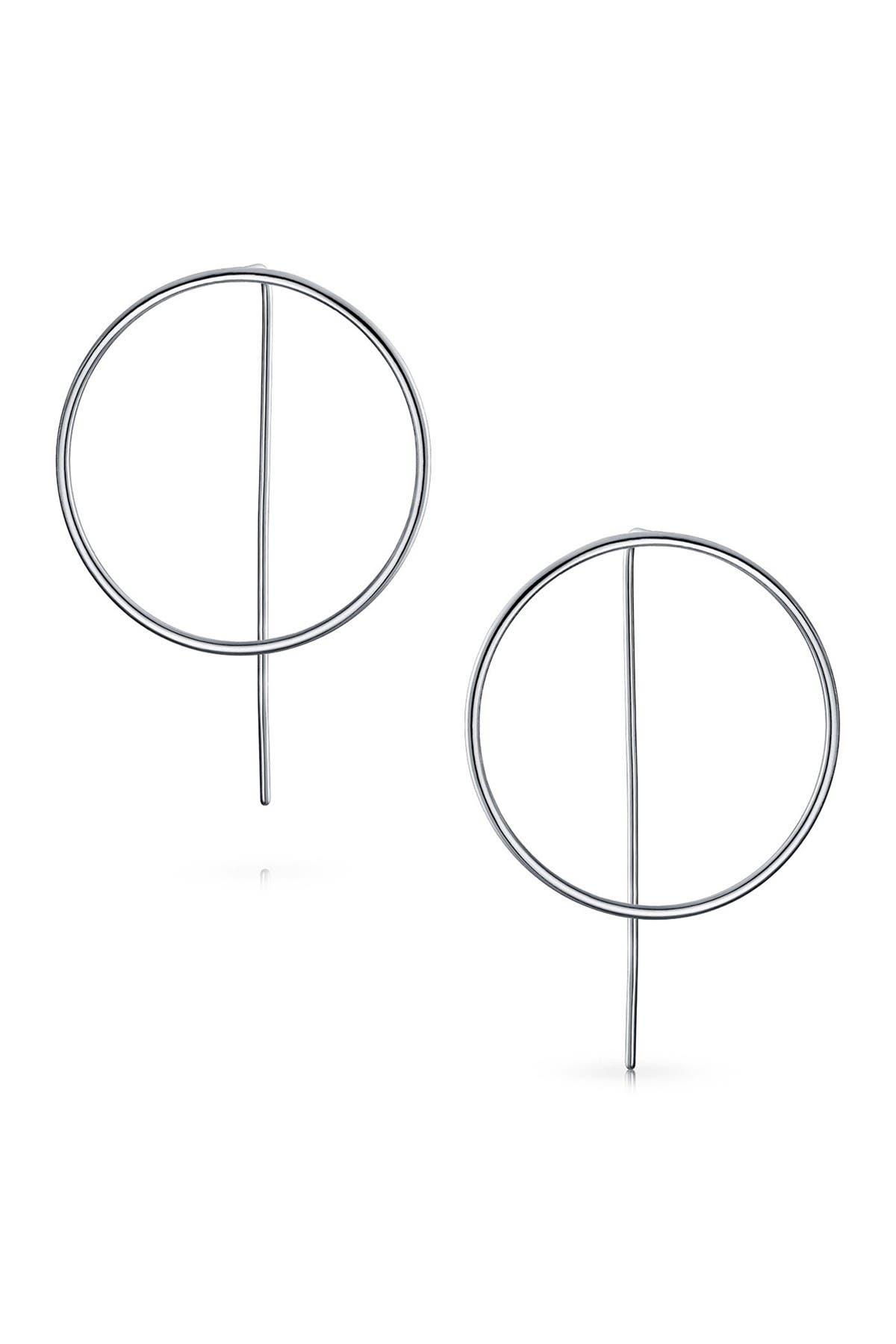 Image of Bling Jewelry Sterling Silver Front Facing Modern Hoop Drop Earrings
