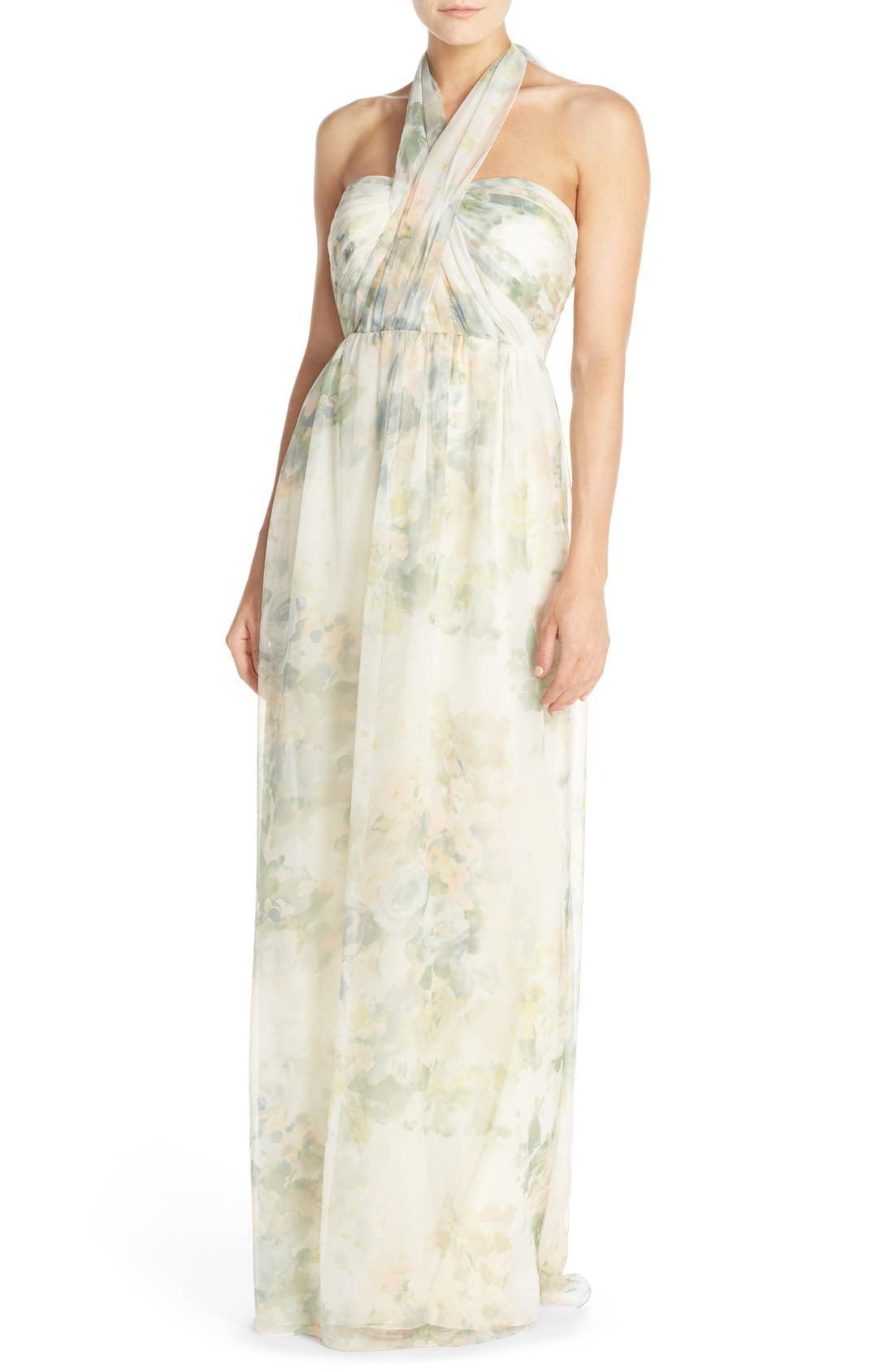 ,                             Nyla Floral Print Convertible Strapless Chiffon Gown,                             Main thumbnail 12, color,                             110
