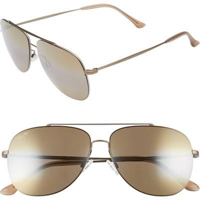Maui Jim Cinder Cone 5m Polarizedplus2 Aviator Sunglasses - Matte Gold/ Bronze