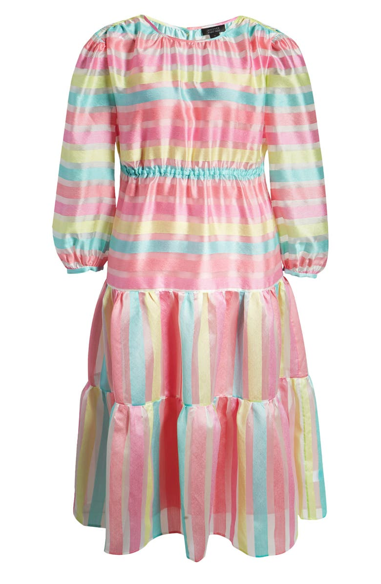 HALOGEN<SUP>®</SUP> x Atlantic-Pacific Long Sleeve Stripe Tiered Organza Dress, Main, color, 660