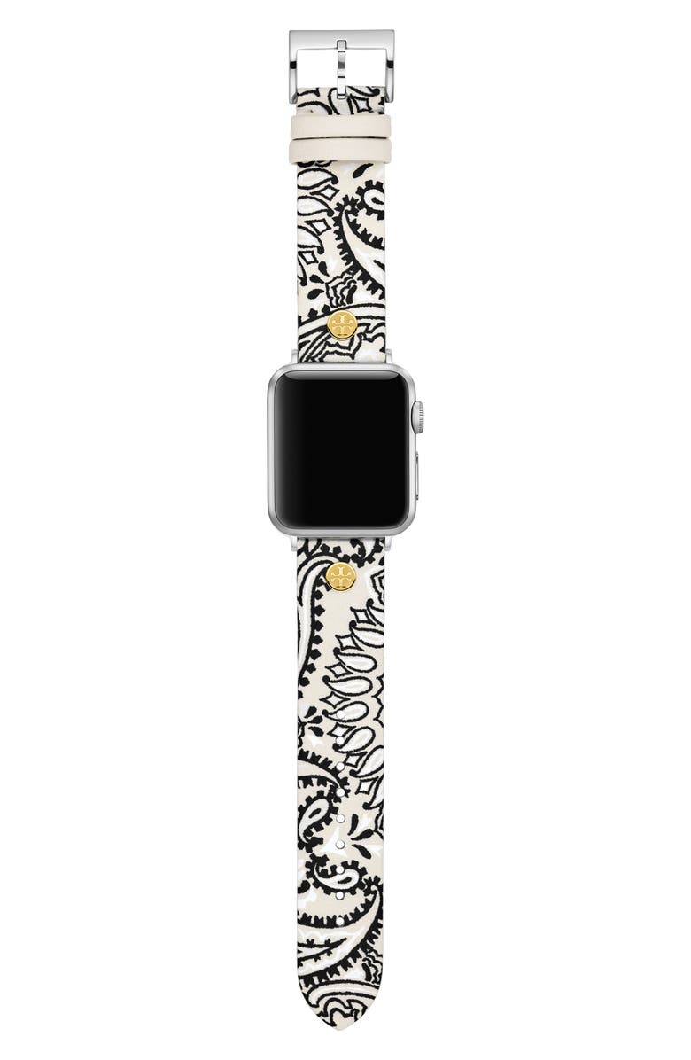 TORY BURCH Paisley Print Leather Apple Watch<sup>®</sup> Strap, Main, color, WHITE
