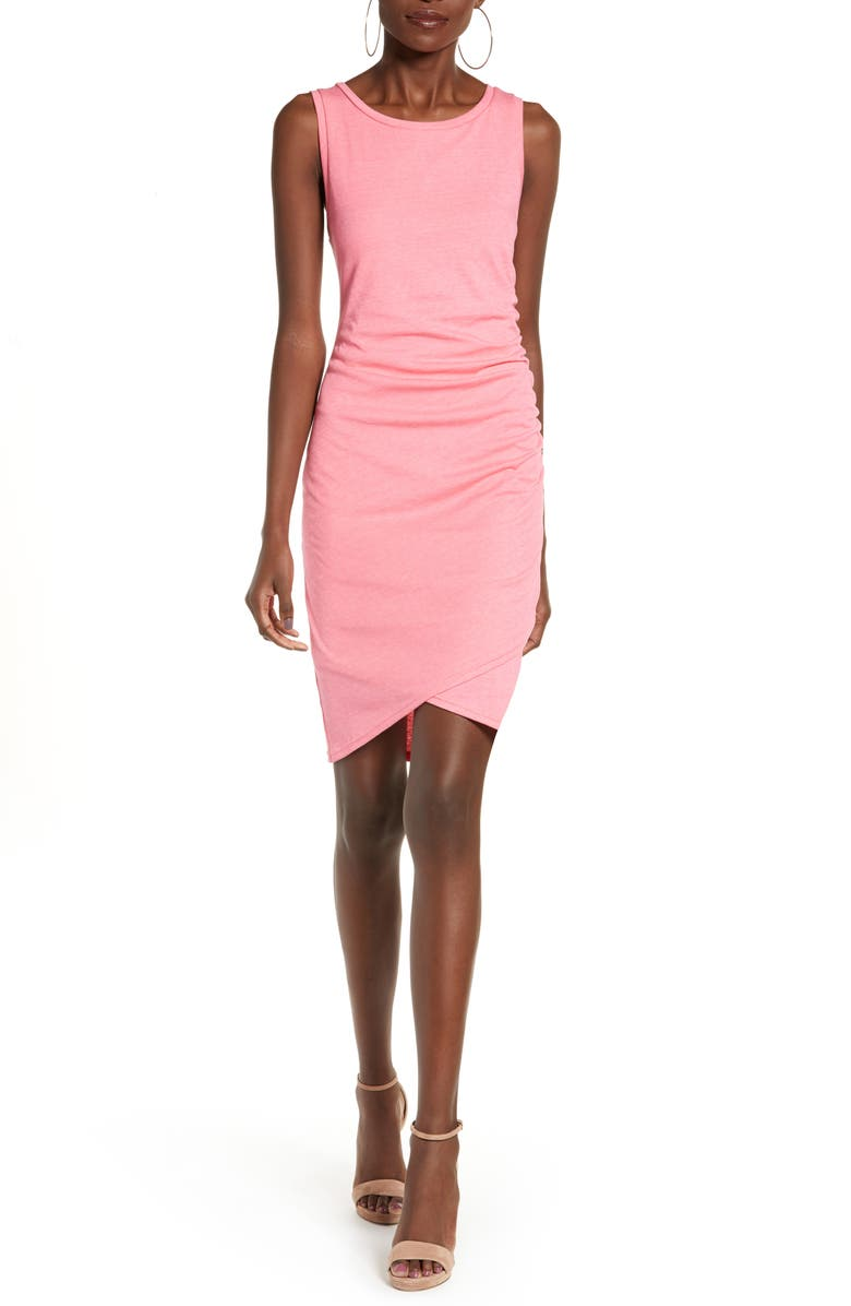 LEITH Ruched Body-Con Tank Dress, Main, color, PINK LEMONADE HEATHER
