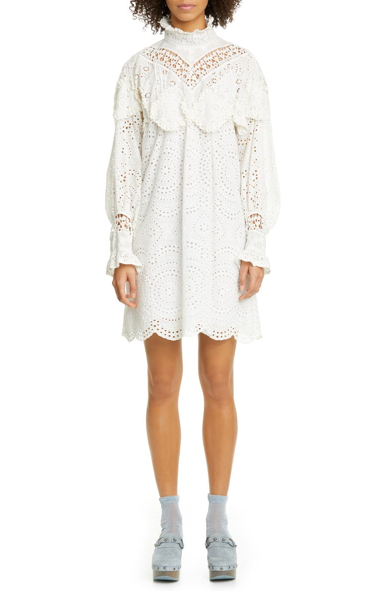 ANNA SUI Eyelet Collage Long Sleeve Dress, Main, color, WHITE