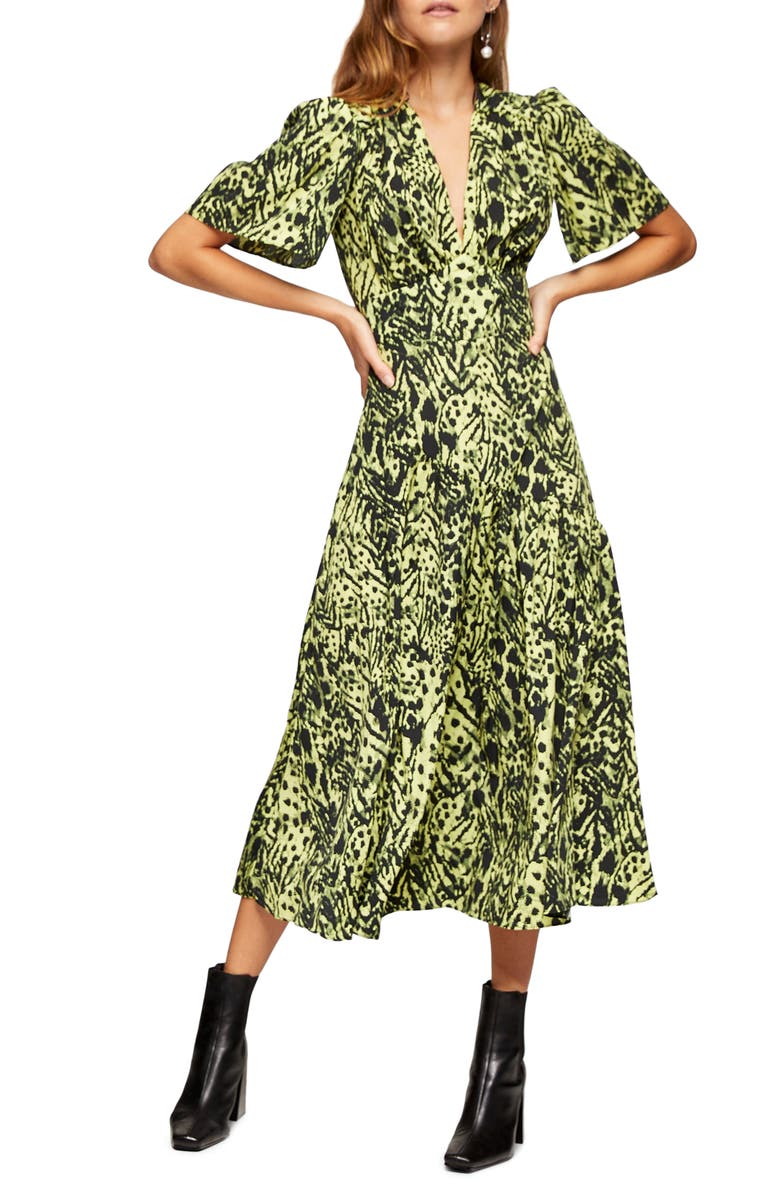 TOPSHOP Animal Print Angel Sleeve Midi Dress, Main, color, LIME MULTI