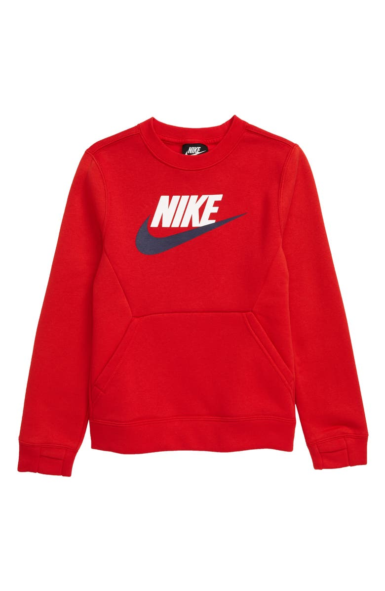 NIKE Crew Club Fleece Sweatshirt, Main, color, UNIVERSITY RED