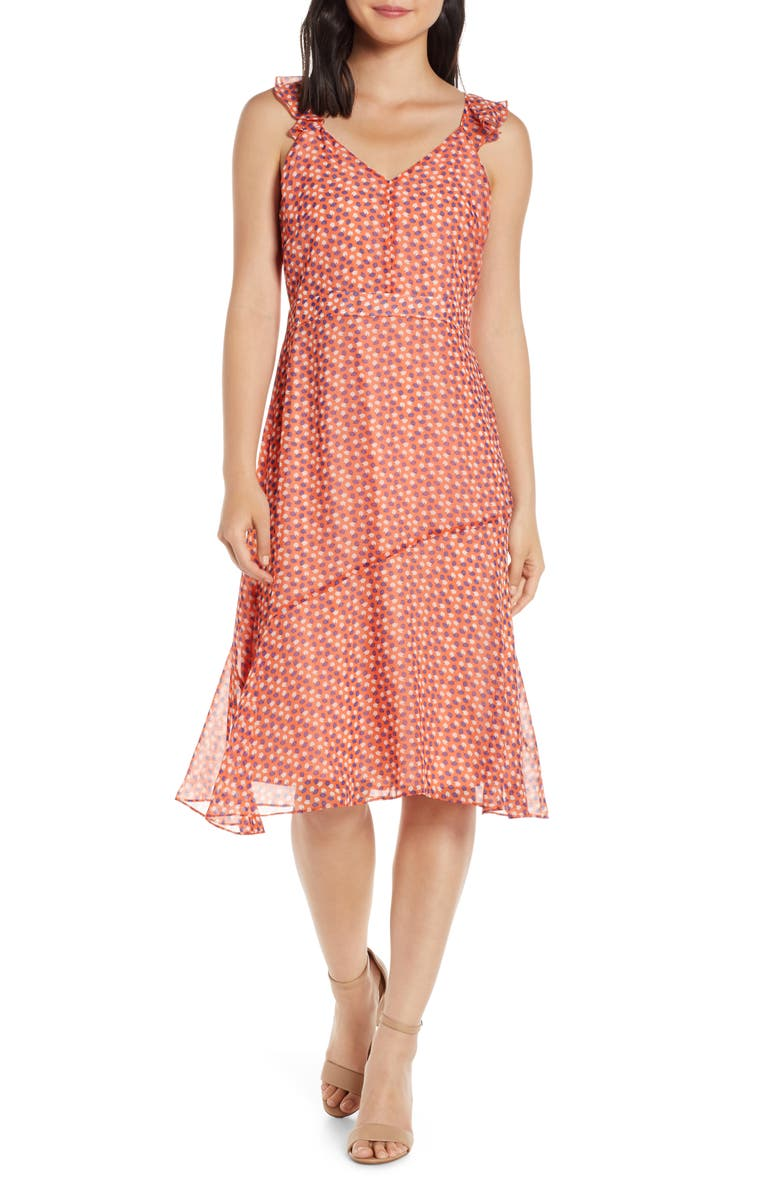 SAM EDELMAN Print A-Line Sundress, Main, color, CORAL PUNCH