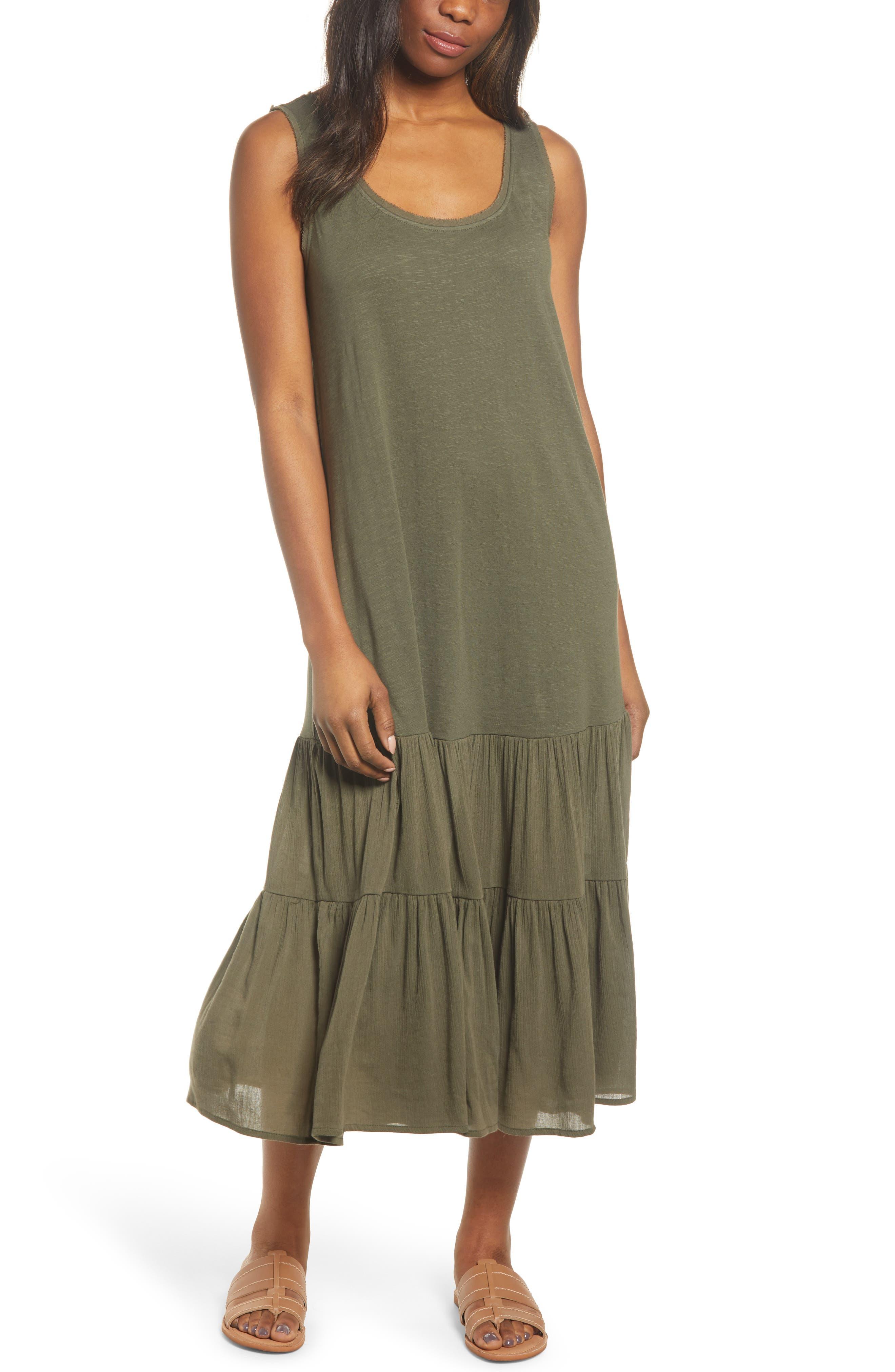 Petite Caslon Mixed Media Drop Waist Maxi Dress, Green