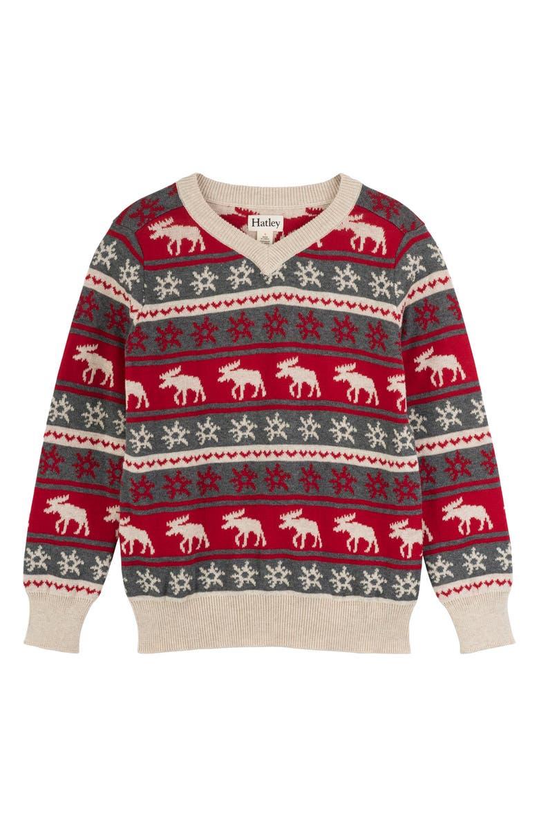 HATLEY Fair Isle Moose Sweater, Main, color, 600