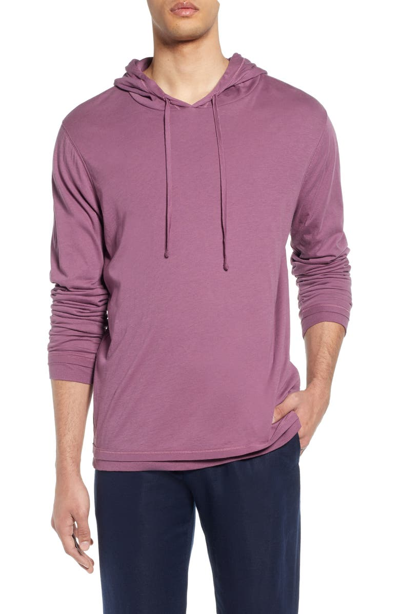 VINCE Double Layer Solid Hoodie, Main, color, SYRAH