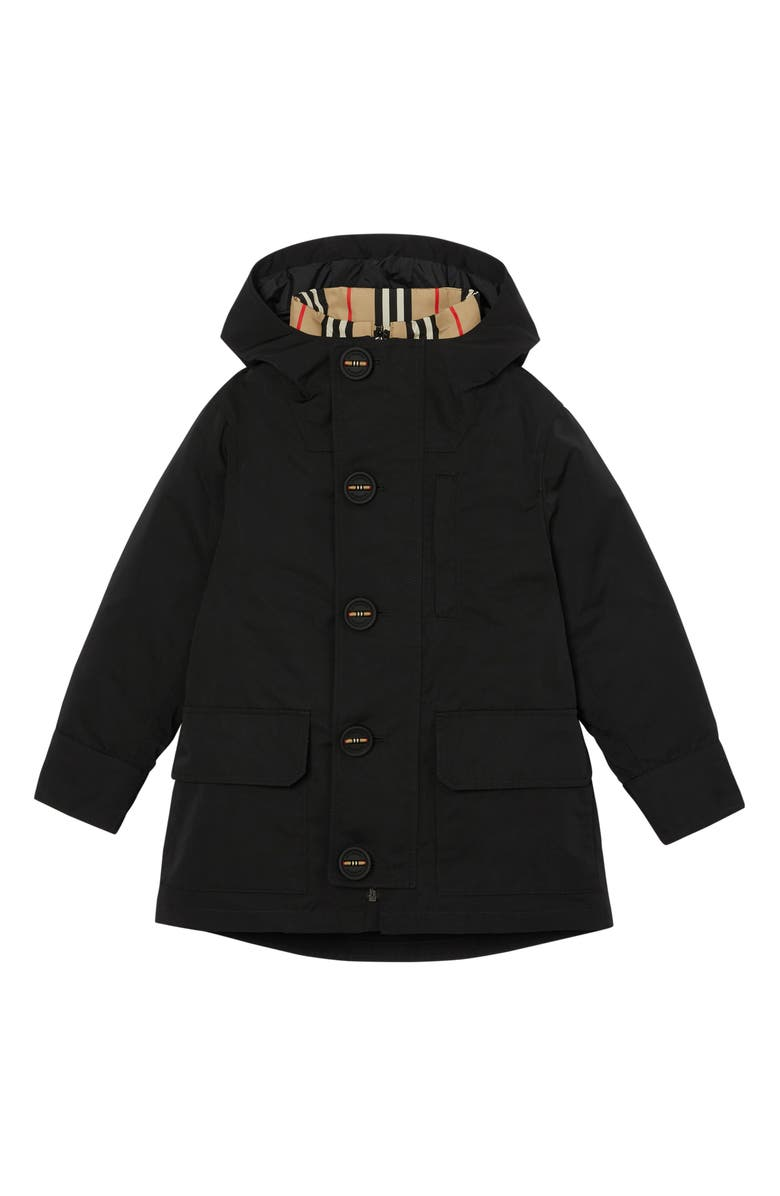 BURBERRY Rowan Hooded Coat with Detachable Icon Stripe Down Puffer Liner, Main, color, 001