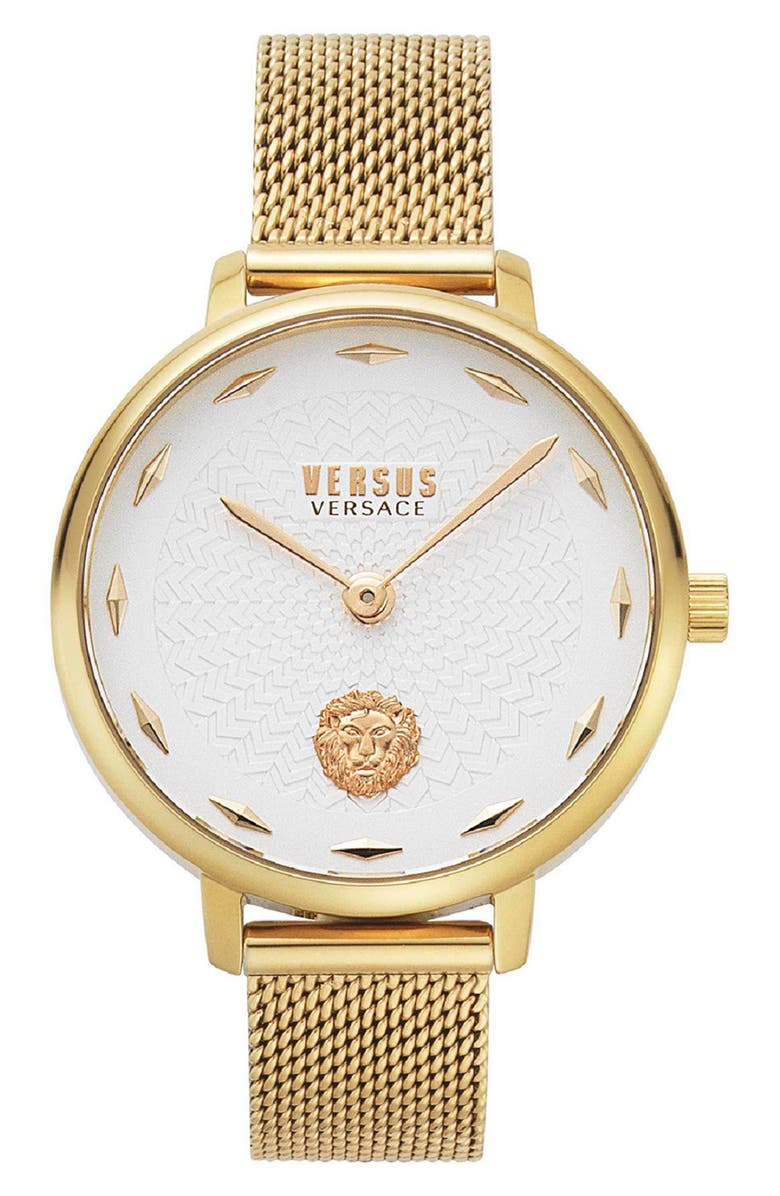 VERSUS VERSACE La Villette Mesh Strap Watch, 36mm, Main, color, GOLD/ WHITE/ GOLD