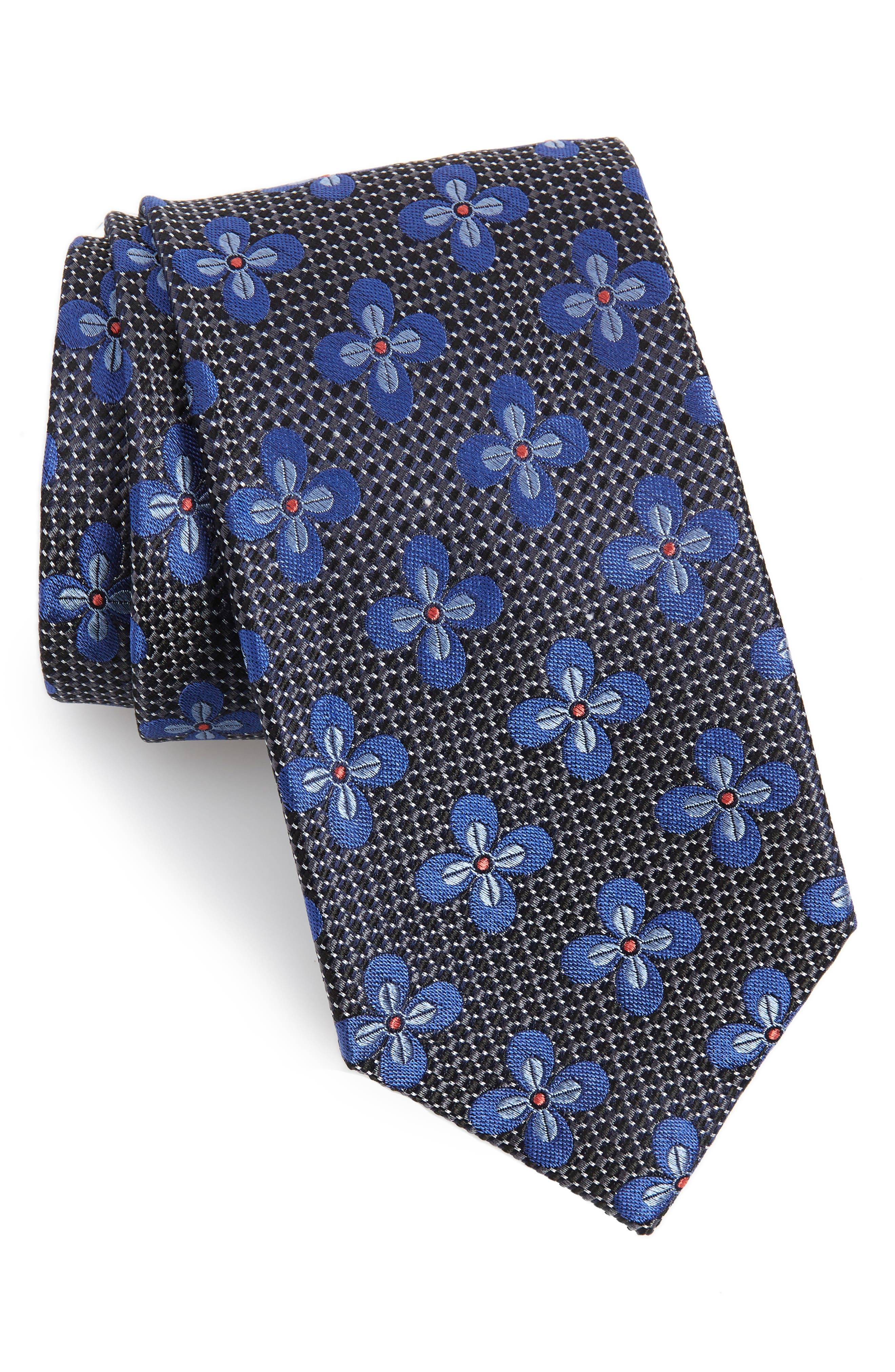 ,                             Manistee Floral Silk X-Long Tie,                             Main thumbnail 1, color,                             ONYX