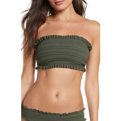 Tory Burch Costa Smocked Bandeau Bikini Top, Green