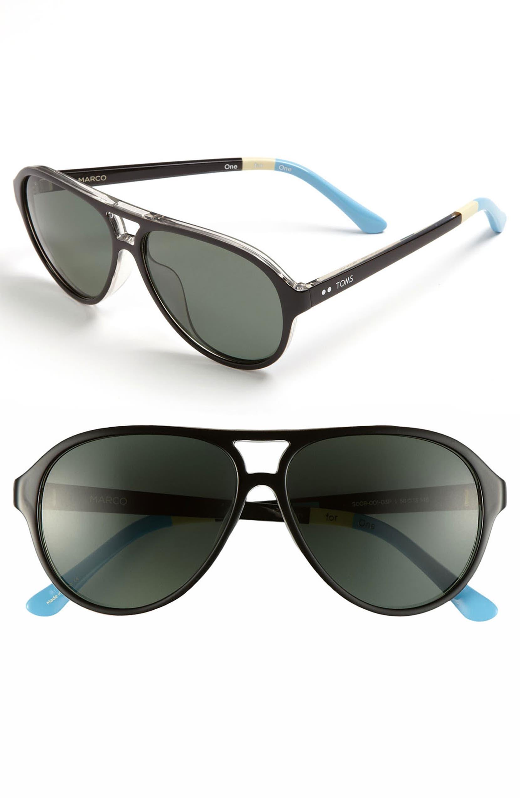 929b31b3ed5b TOMS 'Marco - Classic 104' 58mm Polarized Aviator Sunglasses | Nordstrom
