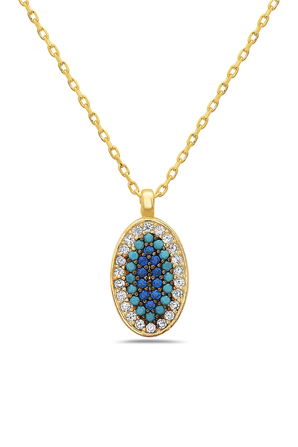 Image of Best Silver Inc. 18K Gold Plated Sterling Silver Crystal Oval Ombre Blue Evil Eye Necklace