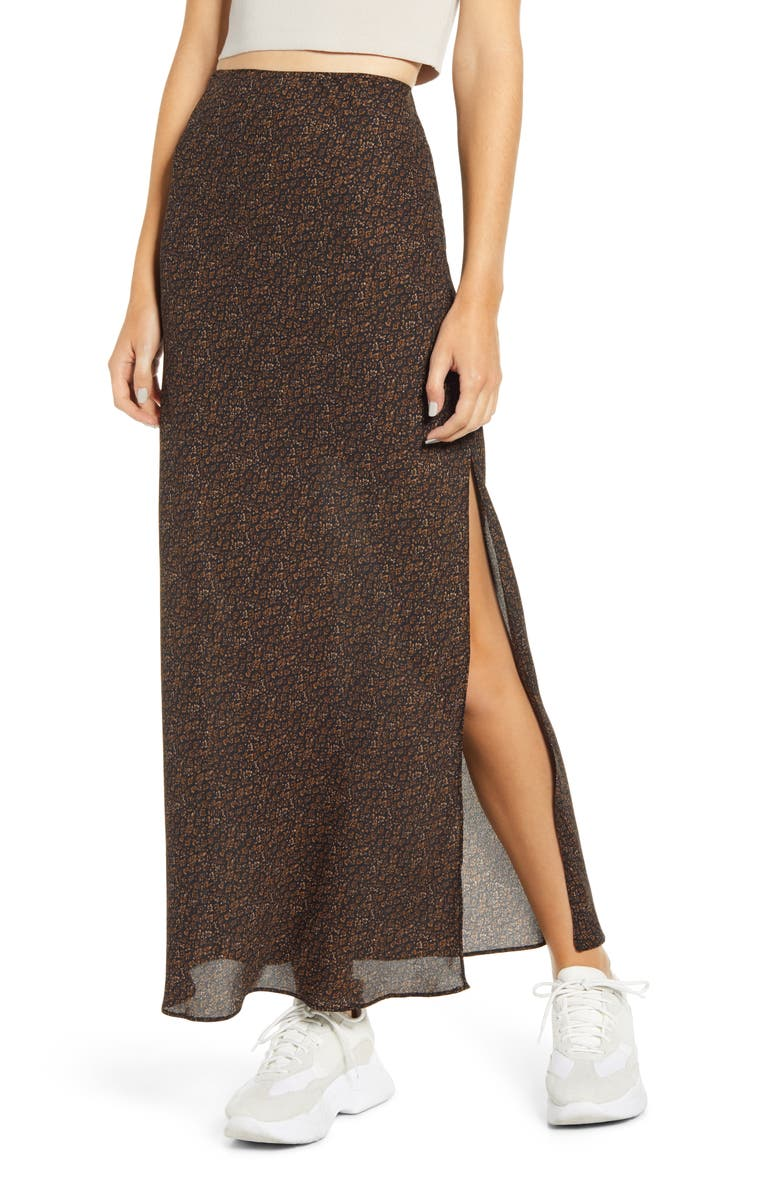 SOCIALITE Floral Print Maxi Skirt, Main, color, BLACK BROWN TAUPE