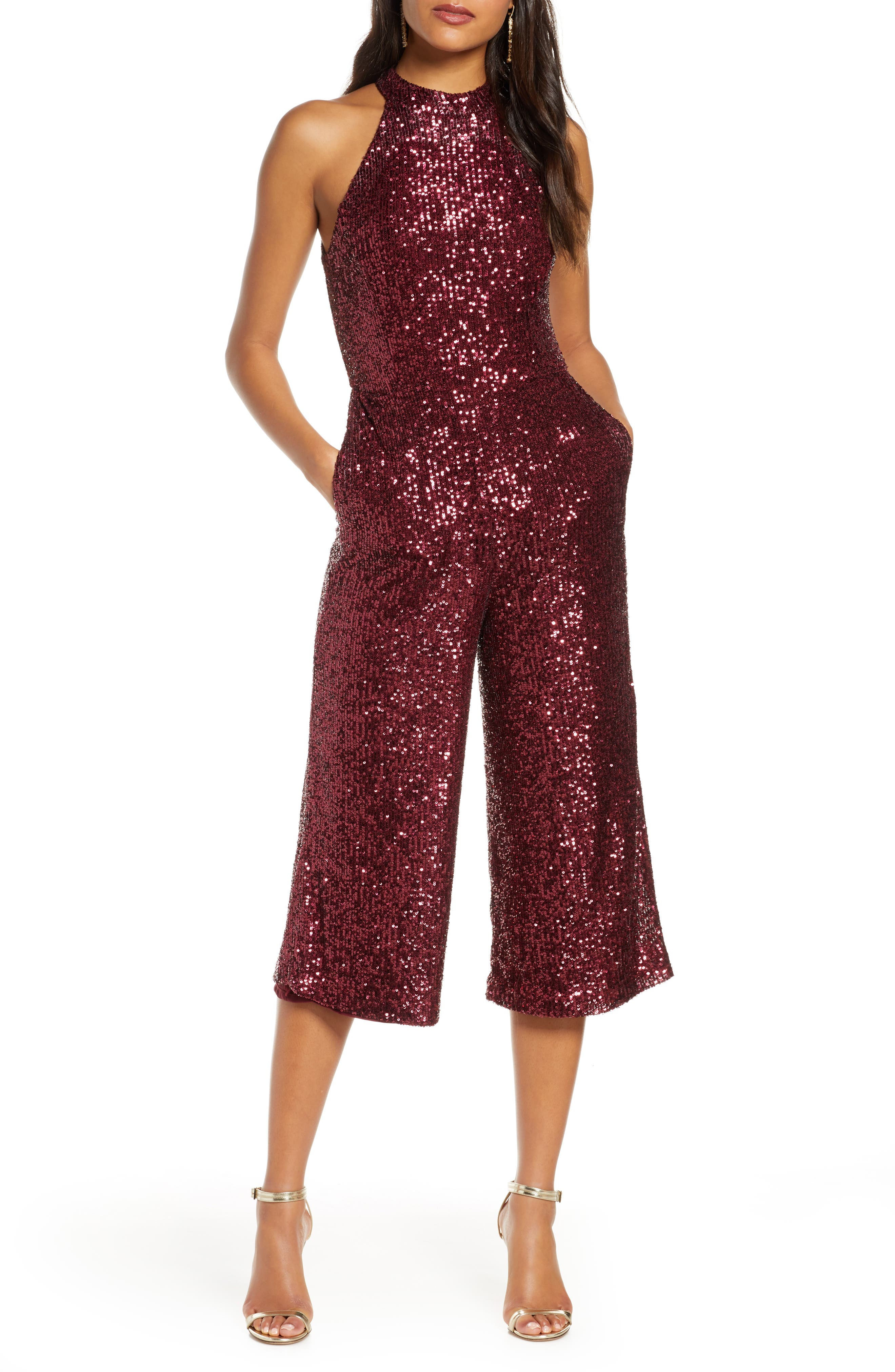 70s Jumpsuit | Disco Jumpsuits, Sequin Rompers Womens Forest Lily Crop Sequin Jumpsuit Size 10 - Red $140.00 AT vintagedancer.com