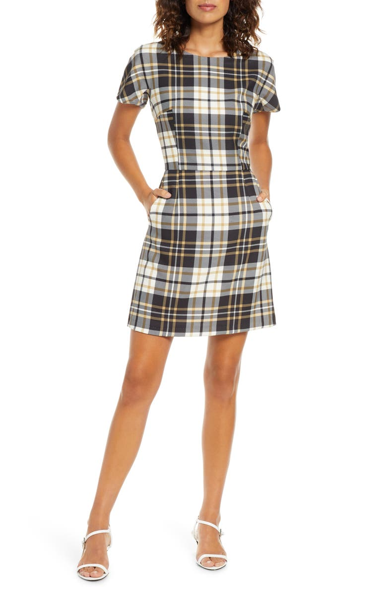 FRENCH CONNECTION Eleanor Plaid Sheath Dress, Main, color, BLACK MULTI