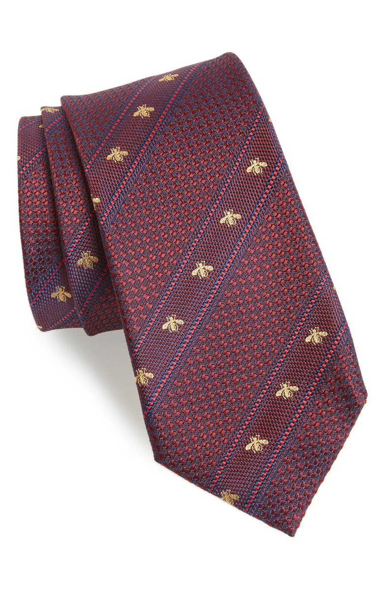 GUCCI Stripe Silk Tie, Main, color, 602