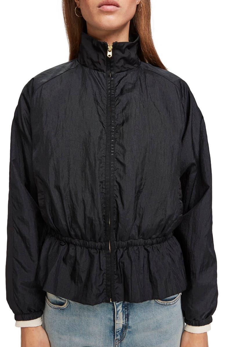 SCOTCH & SODA Lightweight Nylon Peplum Jacket, Main, color, BLACK