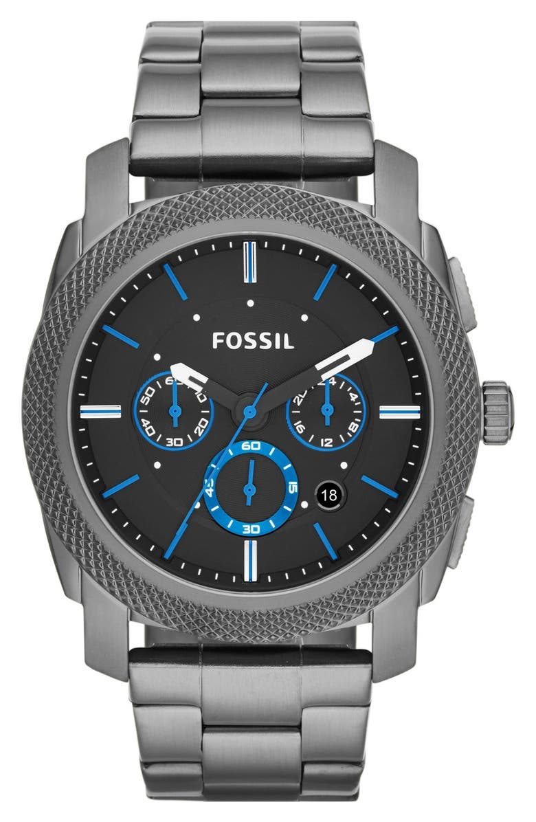 FOSSIL 'Machine' Chronograph Bracelet Watch, 45mm, Main, color, SMOKE