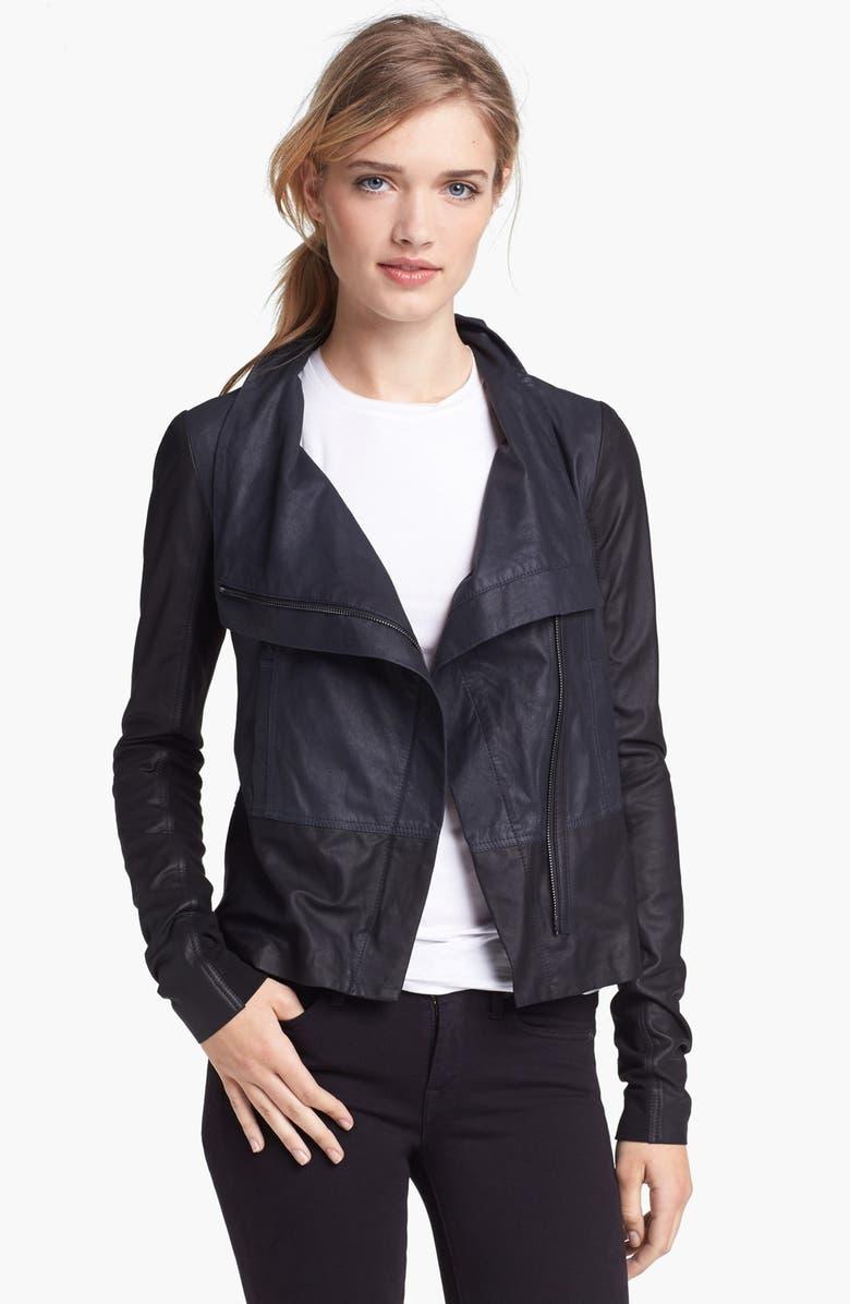 VINCE Colorblock Asymmetrical Zip Leather Jacket, Main, color, 403