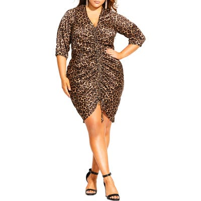 Plus Size City Chic Animal Sense Ruched V-Neck Sheath Dress, Brown