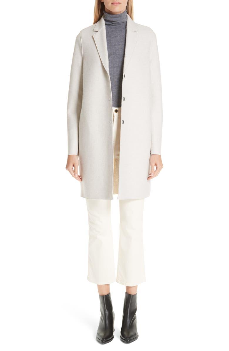 HARRIS WHARF LONDON Classic Cocoon Coat, Main, color, CREAM