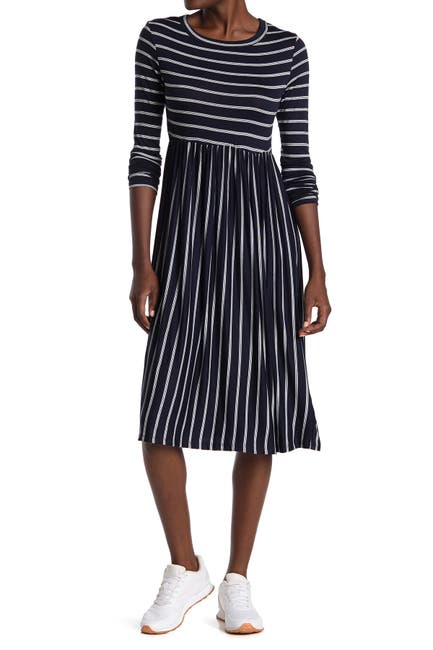 Image of Velvet Torch Striped Long Sleeve Midi Dress