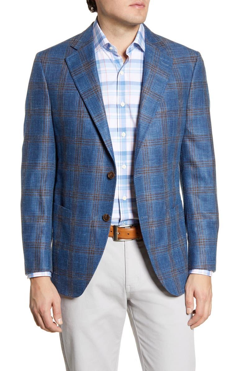 PETER MILLAR Classic Fit Plaid Wool Blend Sport Coat, Main, color, BLUE