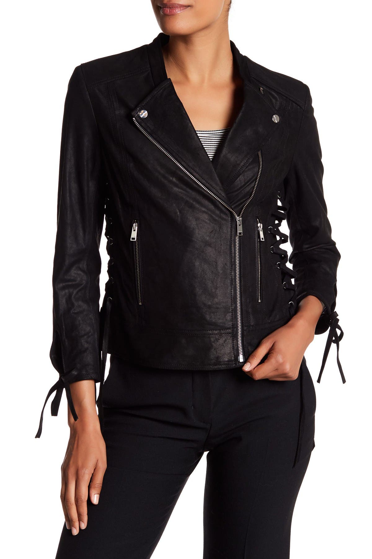 Image of LAMARQUE Rena Lace-Up Genuine Leather Biker Jacket